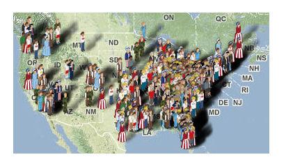 Map of avatars at onlinetaxrevolt.com marching across the US